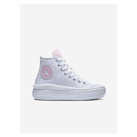 Růžovo-bílé dámské kotníkové tenisky na platformě Converse Chuck Taylor All Star Move Floral Fus