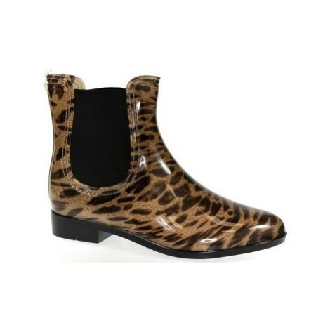 John-C Dámske leopardove gumáky NARI Hnědá
