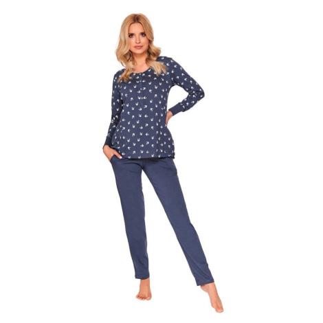 Dámské pyžamo Cali tmavě modré s vlaštovkami