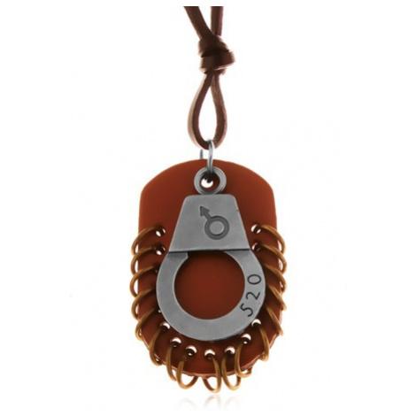 Nastavitelný kožený náhrdelník - pouta s číslem, hnědá známka s kruhy Šperky eshop