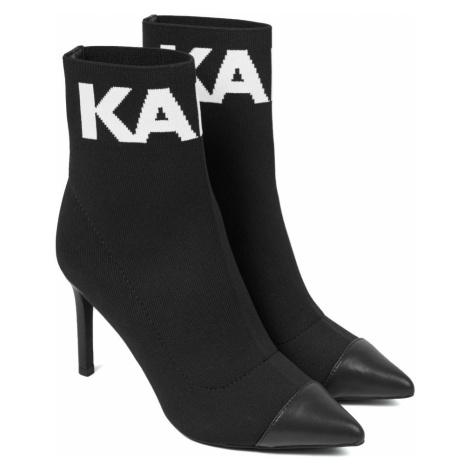 Kotníková Obuv Karl Lagerfeld Pandora Hi Knit Collar Ankle Bt - Černá