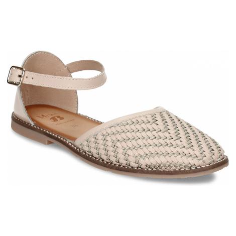 Béžové dívčí kožené sandály s uzavřenou špičkou Baťa