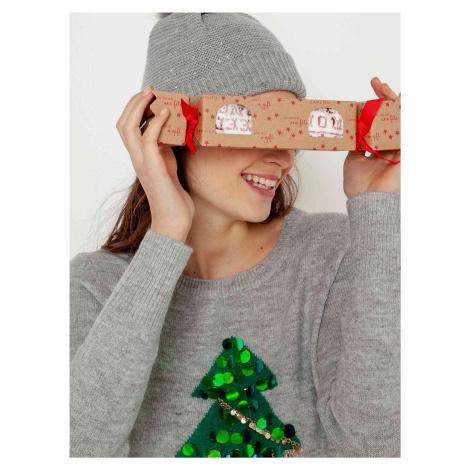 Šedý svetr s vánočním motivem CAMAIEU Camaïeu