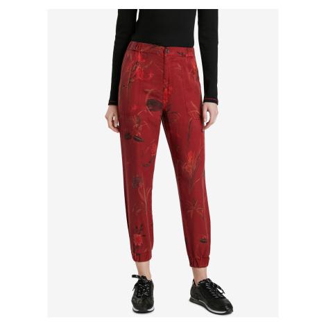 Červené dámské zkrácené vzorované kalhoty Desigual Cmotiger
