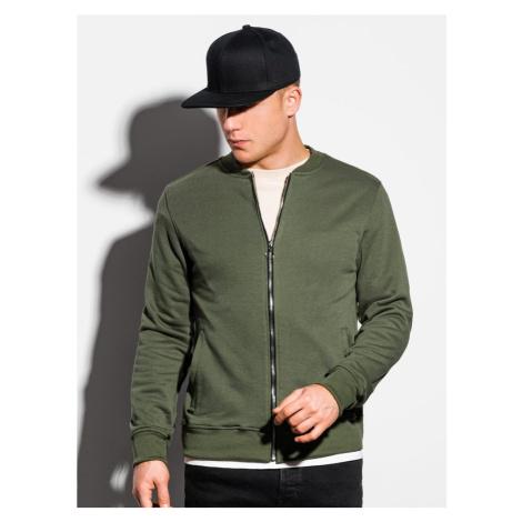 Ombre Clothing Elegantní khaki mikina na zip B1077