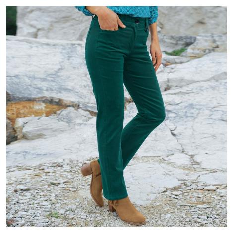 Manšestrové kalhoty s knoflíky smaragdově zelená
