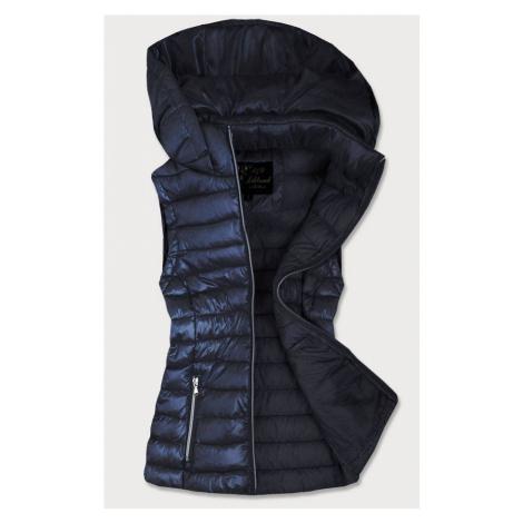Tmavě modrá prošívaná lesklá dámská vesta (7000)