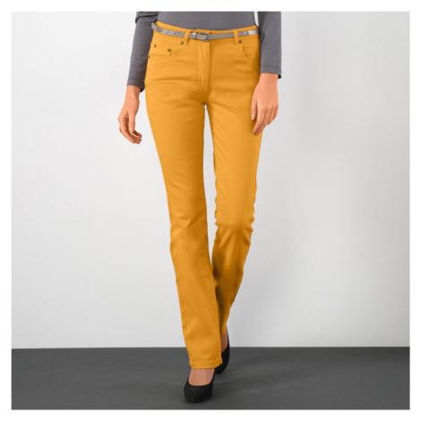 Blancheporte Strečové rovné kalhoty šafránová