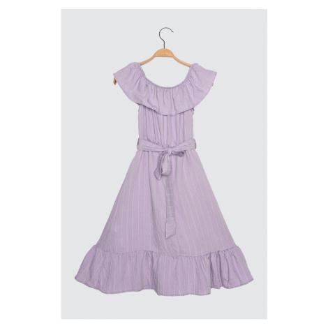Trendyol Lila Petit Carmen Collar Dress