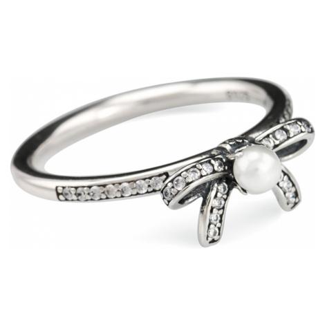 Linda's Jewelry Stříbrný prsten Mašle s perlou IPR014 Velikost: 54