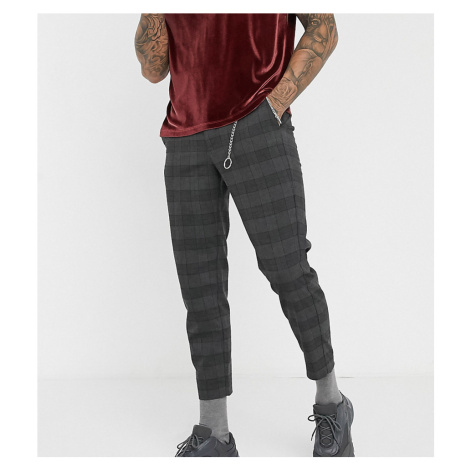 Bershka slim checked trouser with chain in grey