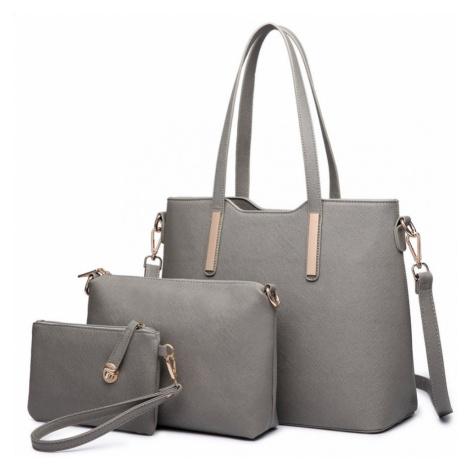 Šedý praktický dámský 3v1 kabelkový set Manmie Lulu Bags