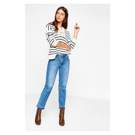 Koton Women's Blue Angelina Low Waist Jeans