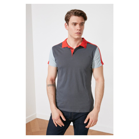 Trendyol Navy Blue Men Slim Fit Color Block Polo Neck T-shirt