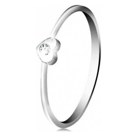 Diamantový prsten z bílého 14K zlata - srdíčko s čirým briliantem Šperky eshop