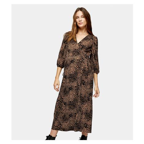 Topshop Maternity animal print kimono wrap dress in tan