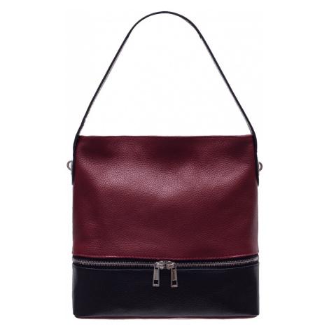 Dámská kožená kabelka na rameno s kapsou na zip - červená Glamorous