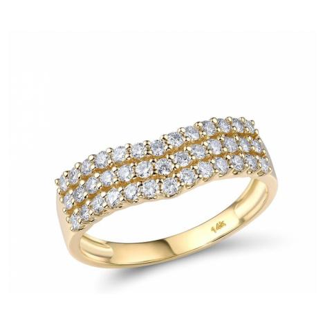 Nádherný třpytivý zlatý prsten ve tvaru srdce s diamanty