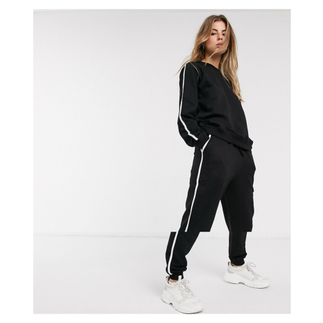 ASOS DESIGN tracksuit sweat / basic jogger with tie with contrast binding in organic cotton-Blac