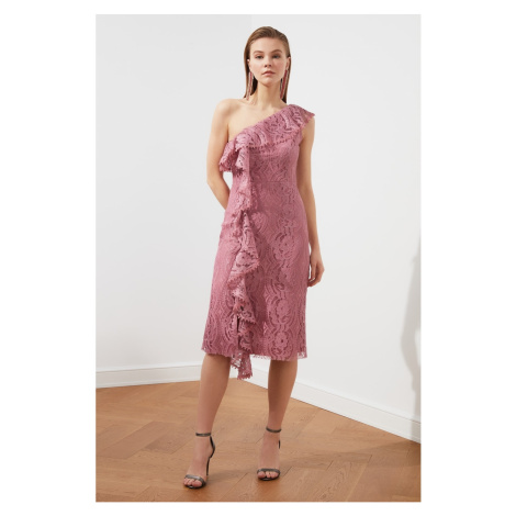 Trendyol Rose Dry Neck Detailed Dress