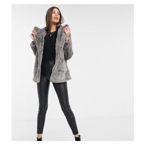 New Look Tall faux fur coat in grey