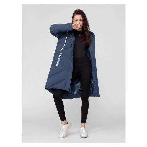 4F - Dámský péřový kabát 2v1 - tmavě modrý