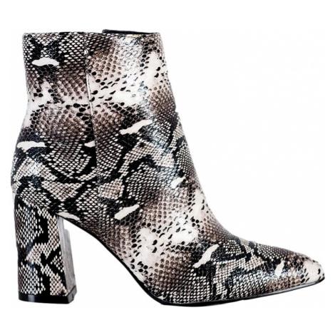 Dámské kotníkové boty s imitací hadí kůže BASIC