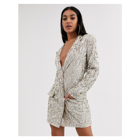 Missguided Peace and Love embellished tux dress-Gold