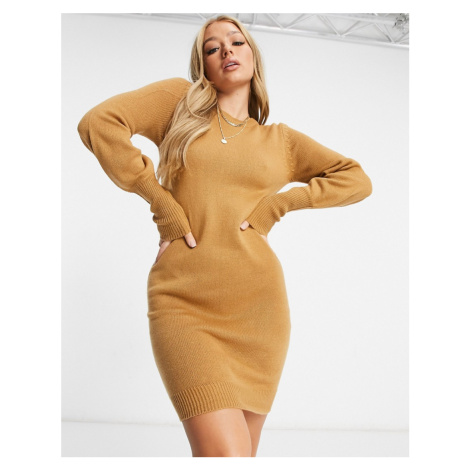 Brave Soul grunging balloon sleeve jumper dress in camel-Tan