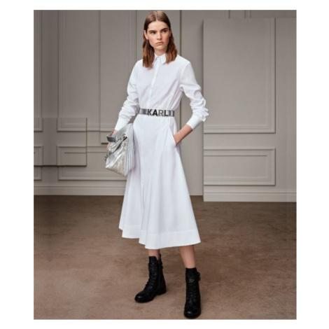Šaty Karl Lagerfeld Poplin A-Line Shirt Dress - Bílá