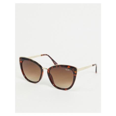 Quay Australia Honey oversized cat eye sunglasses in tort-Brown