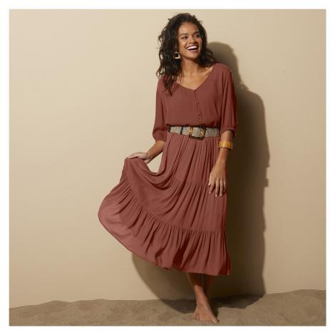 Blancheporte Krátká jednobarevná sukně oříšková