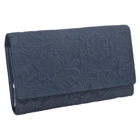 Tmavě modrá klopnová kožená dámská peněženka se vzorem Amani Mercucio
