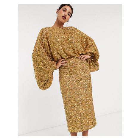ASOS EDITION extreme sleeve sequin midi dress-Gold