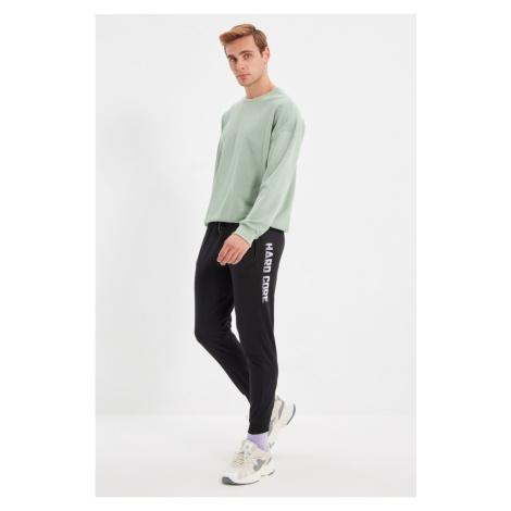 Trendyol Black Men's Regular Fit Printed Rubber Leg Sweatpants