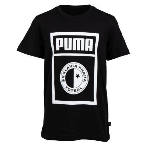 Puma SLAVIA PRAGUE GRAPHIC TEE JR tmavě šedá - Juniorské triko