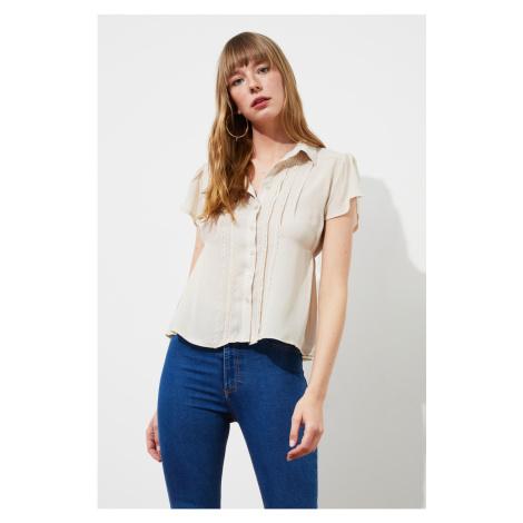 Trendyol Beige Lace Detail shirt