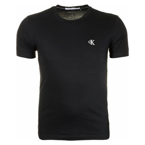 Pánské černé tričko s malým vyšitým logem Calvin Klein