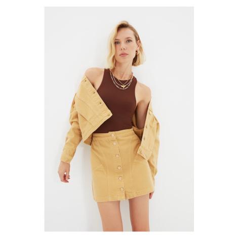 Trendyol Camel Stitch Detailed Front Buttoned Mini Denim Skirt