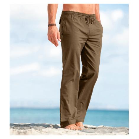 Blancheporte Pohodlné plátěné kalhoty hnědošedá