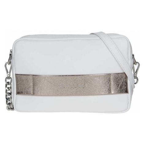 Trendy dámská kožená crossbody kabelka Facebag Ninas - bílo-zlatá