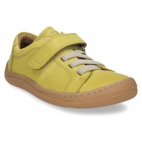 Žluté dětské kožené tenisky na suchý zip Froddo