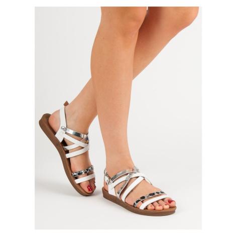 Luxusní bílé dámské  sandály bez podpatku Seastar