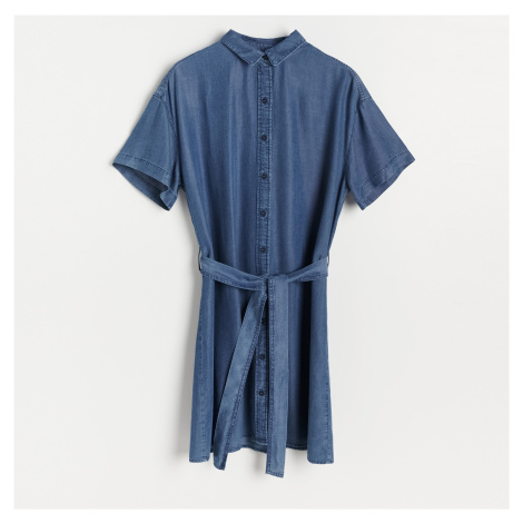 Reserved - Šaty z Tencel™ Lyocellu - Tmavomodrá