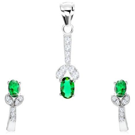 Stříbrný 925 set, náušnice, přívěsek, zelený zirkon, rozdvojená linie Šperky eshop