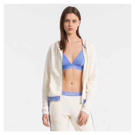 Bílo-modrá mikina Modern Cotton Full Zip Hoodie W/Rib Calvin Klein