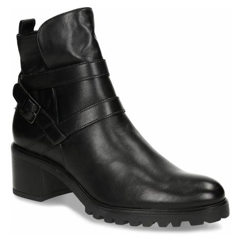 Černá dámská kožená kotníková obuv s pásky Baťa