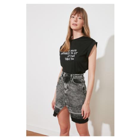 Trendyol Anthracite Color Block Slit Mini Denim Skirt