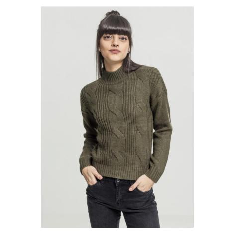 Ladies Short Turtleneck Sweater - olive Urban Classics