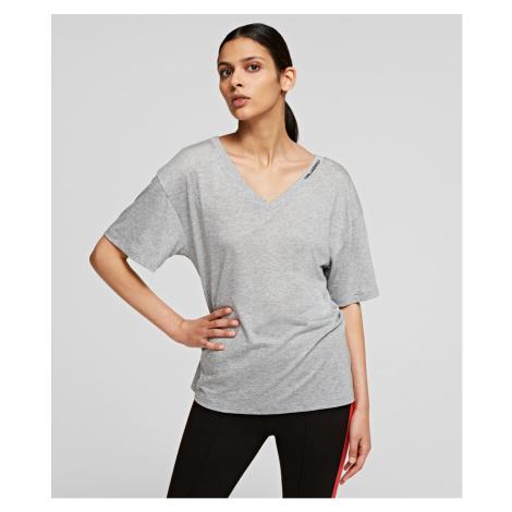 Tričko Karl Lagerfeld Double V Neck T-Shirt - Šedá